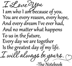 Epic Designs I Love You. I am who I am Because of You. You are Every Reason, Every Hope, and Every Dream I've Ever had, and no Matter What Happens to us in The Future The Notebook Saying