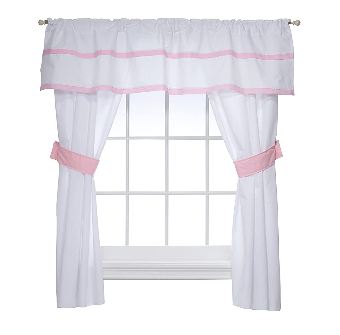 Baby Doll Medallion 5 Piece Window Valance and Curtain Set, Pink