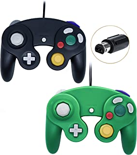 Poulep Wired Controller for Gamecube Game Cube, Classic Ngc Gamepad Joystick for Wii Nintendo Console (Black and Green)