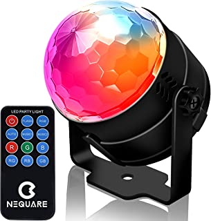 NEQUARE Party Lights Sound Activated Disco Lights Strobe Light 7 Lighting Color Disco Ball with Remote Control for Bar Club Party DJ Karaoke Xmas Wedding Show and Outdoor