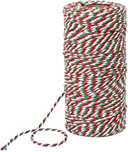 100 Meters Cotton String Christmas Candy Bakers Twine 2 mm Diameter for Gift Wrapping Christmas Decoration DIY (Red, White and Green)