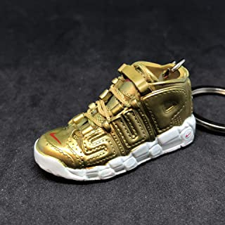 Air More Supreme Uptempo Gold Suptempo OG Sneakers Shoes 3D Keychain 1:6 Figure