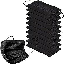 10pcs/Pack Black Disposable Face Masks Breathable Dust Mask Stretchable Elastic Ear Loops (Black)