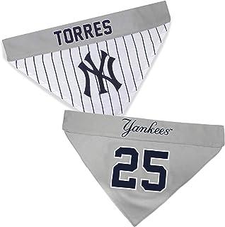 """باندانا للحيوانات الأليفة قابلة للعكس من MLBPA - رابطة رأس جليبر توريس #25 - MLB نيويورك يانكيز """"هوم آند أواي"""" باندانا، مق..."""