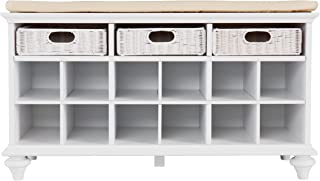 white hall bench storage with baskets and cushion