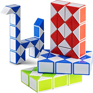 Fidget Twist Puzzle Snake (Pack of 4) Sensory Cube Snake Twist Puzzle, Ideal for Party Favors, Game Prize, Small Birthday ...