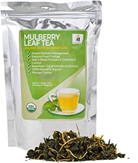 USDA Organic Mulberry Tea : White Mulberry Leaf Tea Leaves from Thailand, Sugar Free Diabetic Tea : Blood S...