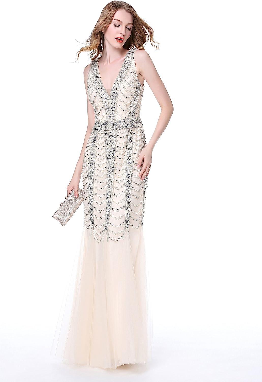 Luscious Delia Women's Gorgeous Crystal Beaded Low Cut Halter Mermaid Evening Dress