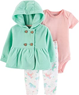 Carter's Baby Girls' Cardigan Sets (Turquoise/Pink Unicorns, 6 Months)
