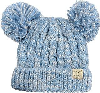 C.C 儿童儿童针织双耳毛翻边无檐小便帽帽子
