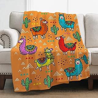 Jekeno Llama Alpaca Throw Blanket Print Comfort Soft Warm Blanket for Sofa Chair Bed Office 50