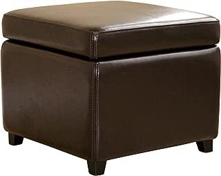Wholesale Interiors Full Leather Ottoman, Dark Brown