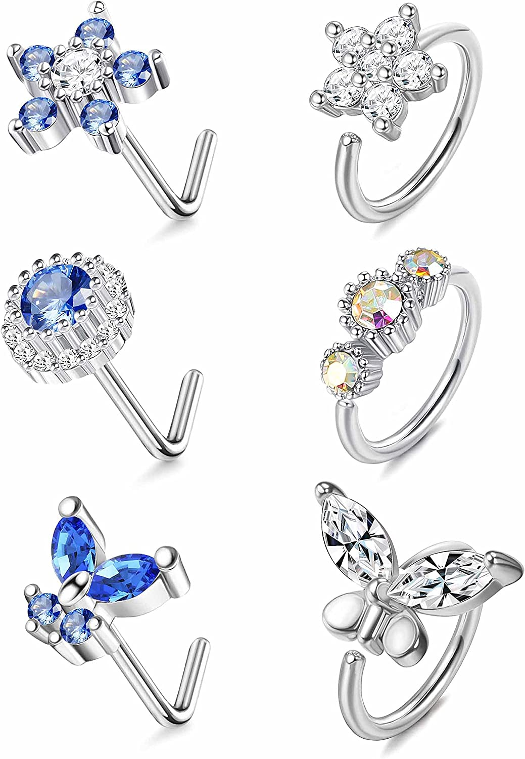 IRONBOX 6Pcs 20G Stainless Steel Nose Rings Hoop for Women Men Flower L Shaped Nose Rings Butterfly Nose Stud CZ Nose Piercing Jewelry