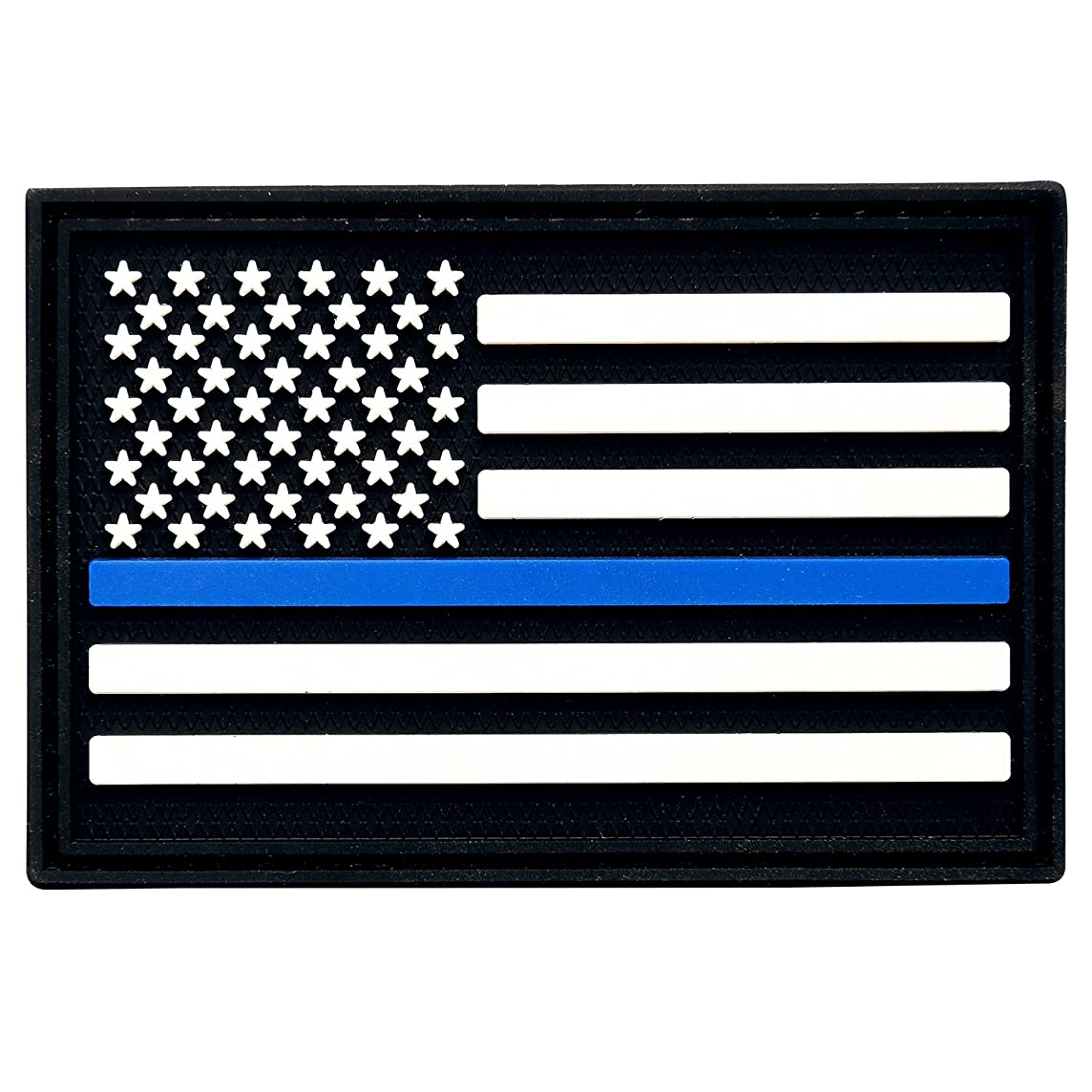3V Gear Police Blue Line Support Moral Patch | Rigid PCV Molded with Hook-Back | 2 x 3 inches | 3-D Molded