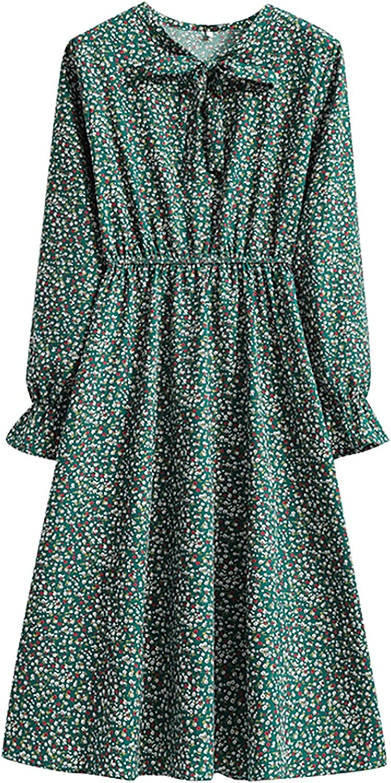 Hemlock Women Floral Print Dress Long Sleeve Teens Dresses Bowknot Elastic Waist Mid-length Dress