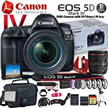 Canon EOS 5D Mark IV DSLR Camera with 24-70mm f/4L Lens (USA Model) (1483C018) W/Canon Bag, Extra Battery, LED Light, Mic, Filters, Tripod, Monitor and More - Professional Bundle