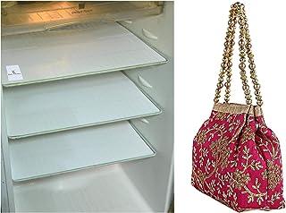 Kuber Industries Multi-Purpose Mats (Set of 6)(White) & Polyester Embroidered Woman Potli Bag, Pink - CTKTC31391 Combo