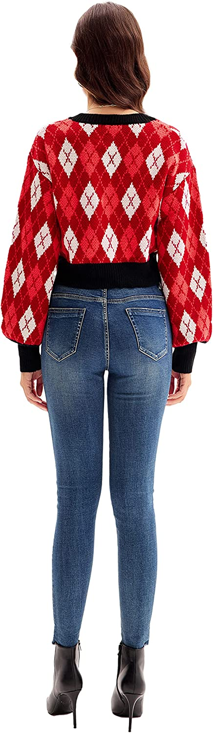 GRACE KARIN Women's Cropped Cardigan Y2K Long Sleeve Plaid V-Neck Button Down Open Front Ribbed Knit Shrug Sweater