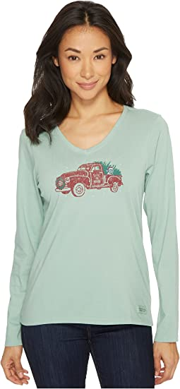 Life is Good - Holiday Truck Long Sleeve Crusher Vee