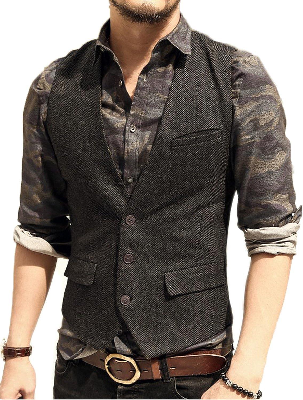 JYDress Men's Slim Fit Herringbone Tweed Suits Vest 3 Button Vest Waistcoat