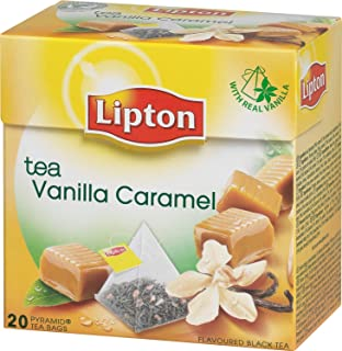 Lipton VANILLA and CARAMEL Tea Bags - Sealed Boxes of 6 x 20 bags = 120 pyramid bags