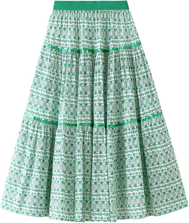 FIDDY898 Women Girl Beach Boho Midi Skirt Pleated High Waist Printed Gypsy Skirts
