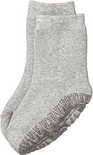 Calcetines con suela de goma antideslizante, Edad: 18-24 meses, Talla: 22, Gris claro (Plata moteada)