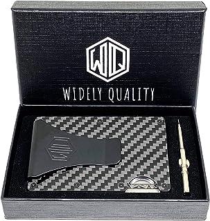 Carbon Fiber Wallet Money Clip by WidelyQuality RFID Minimalist Slim CardHolder (Black, Carbon Fiber)