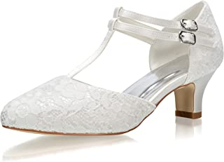JIAJIA 00968 Women's Bridal Shoes Closed Toe T-Strap Block Low Heel Lace Satin Pumps Wedding Shoes