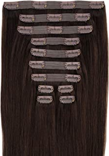 Maxy #2 Dark Brown Clip In 100% Human Hair Extensions 20