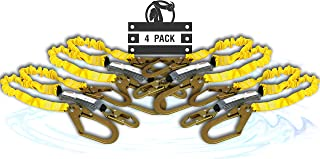 KwikSafety (Charlotte, NC) PYTHON 4 PACK (External Shock Absorber) Double Leg 6ft Safety Lanyard OSHA ANSI Fall Protection Restraint Equipment Snap Rebar Hook Connectors Construction Arborist Roofing