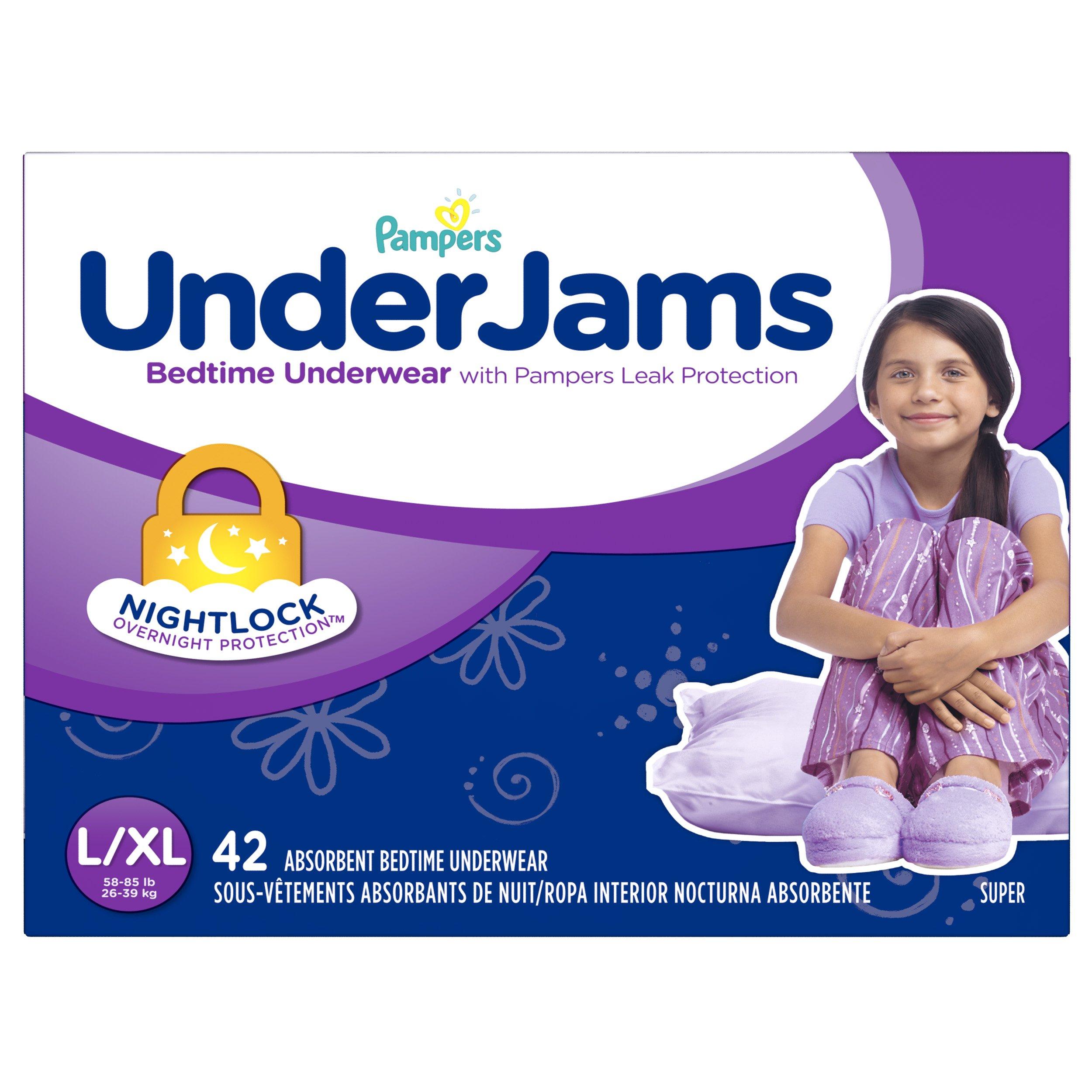 Pampers Underjams 女宝宝床上用品,小号/中号尿布,50 片 大号/加大号,42 只装 L/X-L 42