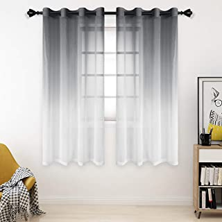 Bermino Faux Linen Ombre Sheer Curtains, 54 x 63 inch, Grey - Grommet Gradient Voile Semi Sheer Curtains for Bedroom and L...