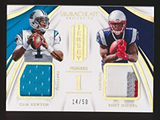 CAM NEWTON X SONY MICHEL 2018 IMMACULATE COLLECTION JERSEY NUMBER 1 14/50