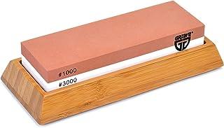 GRÄWE Wetzstein für Küchenmesser, Schleifstein aus Korund mit rutschfestem Bambus-Halter, Zwei Körnungen, 1000/3000 - Serie Sharphome