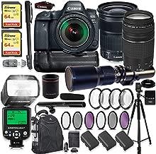 Canon EOS 6D Mark II DSLR Camera w/ 24-105mm Lens, 75-300 Lens & 500mm Preset Lens + 2X 64GB Sandisk Extreme Memory + Auto TTL Flash (Guide # 58/190 ft) + 60