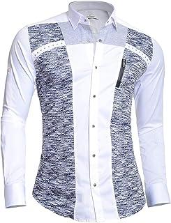 Mondo Mens Long Sleeve Dress Shirt Cotton Metal Zip Knitted