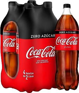 Coca-Cola - Zero, Refresco con gas de cola, 2 l (Pack de 4), Botella de plástico