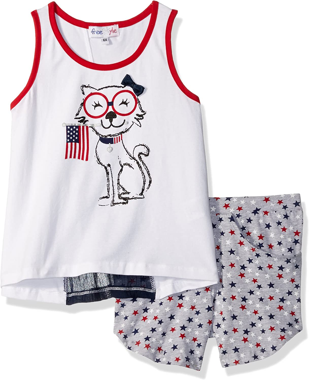 Freestyle Revolution Girls Little 2pc Americana Cat Short Sets