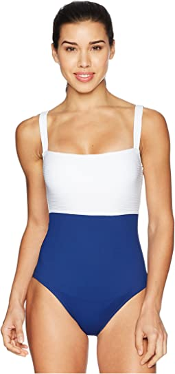 LAUREN Ralph Lauren Rib/Jersey Blocking Over the Shoulder Underwire One-Piece