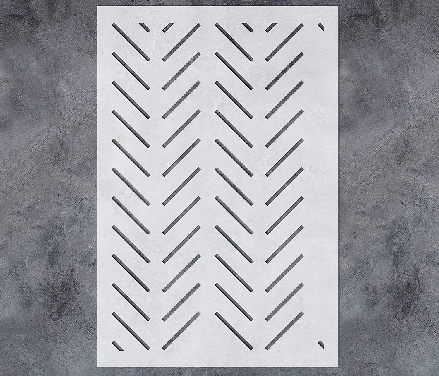 GSS Designs Large Herringbone Wall Stencil (16x24Inch) - Stencils for Painting on Wood Wall Furniture - Reusable Herringbone Stencil Template for Wall Decor (SL-099)