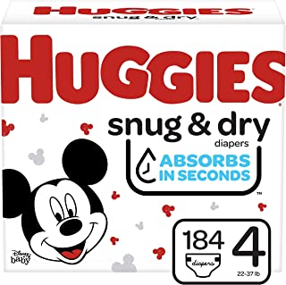 Huggies Snug & Dry Baby Diapers, Size 4, 184 Ct, One Month Supply