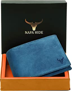 Napa Hide RFID Protected Genuine High Quality Leather Wallet for Men (Blue Hunter)