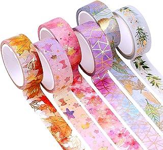 YUBX 6 Rouleaux Washi Tape Ruban Adhésif Papier Décoratif Masking Tape pour Scrapbooking Artisanat de Bricolage (Flower Go...