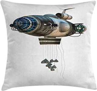 Ambesonne Zeppelin Decor Throw Pillow Cushion Cover by, Fantasy Aircraft Starship Surreal Transport Model Digital Graphic Print, Decorative Square Accent Pillow Case, 18 X 18 Inches, Dimgrey Blue