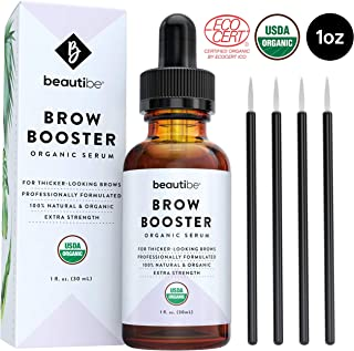 Eyebrow Growth Serum with Castor Oil (1oz) – Natural + Organic - Brow Hair Conditioner. Thickening Enhancer for Eyebrows. Regrowth Treatment Drops to Boost Repair & Grow Thicker Brows + Applicator Kit