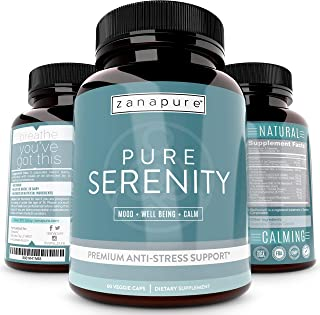 Zanapure - Pure Serenity - Vegan Anti-Anxiety Supplements - Pills to Relieve Stress - Anti-Stress - Mood Enhancement Pills...