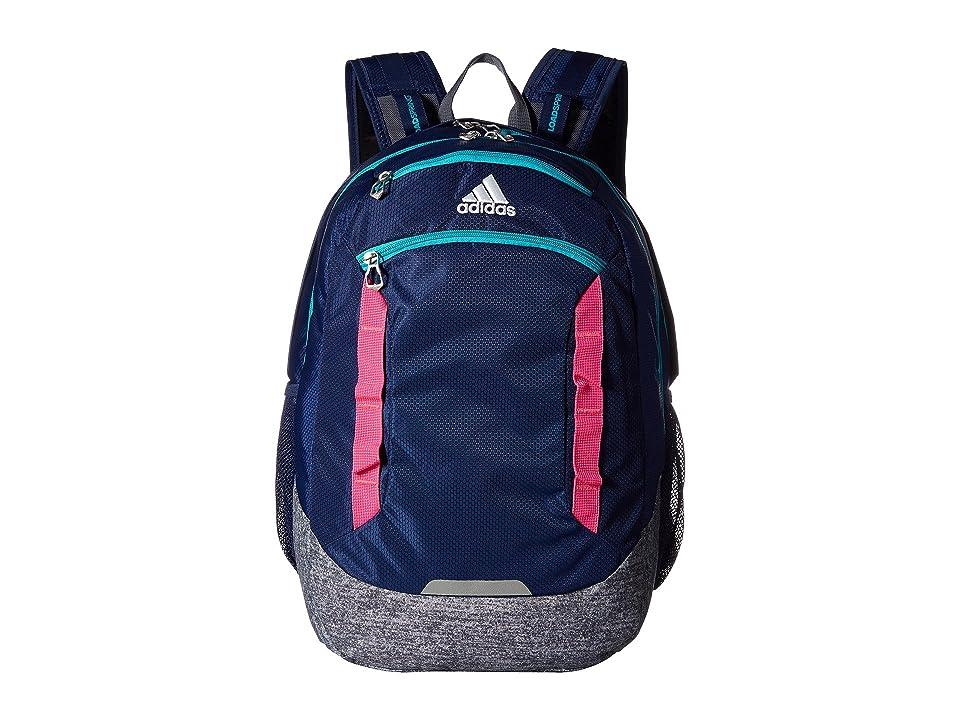 adidas Excel IV Backpack (Dark Blue/Onix Jersey/Hi Res Aqua Green/Shock Pink) Backpack Bags