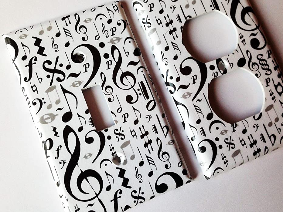 Music Notes Light Switch Plate Cover -All Sizes Offered