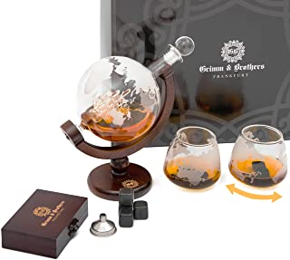 Grimm & Brothers: Whiskey Karaffe 850ml- 2 Whisky Gläser- 9 Whiskey Steine- Whiskey Geschenk- Gläser Set- Whiskey Zubehör- Männer Geschenke- Whisky Karaffe Globus mit Gravur- Luftdichter Verschluss